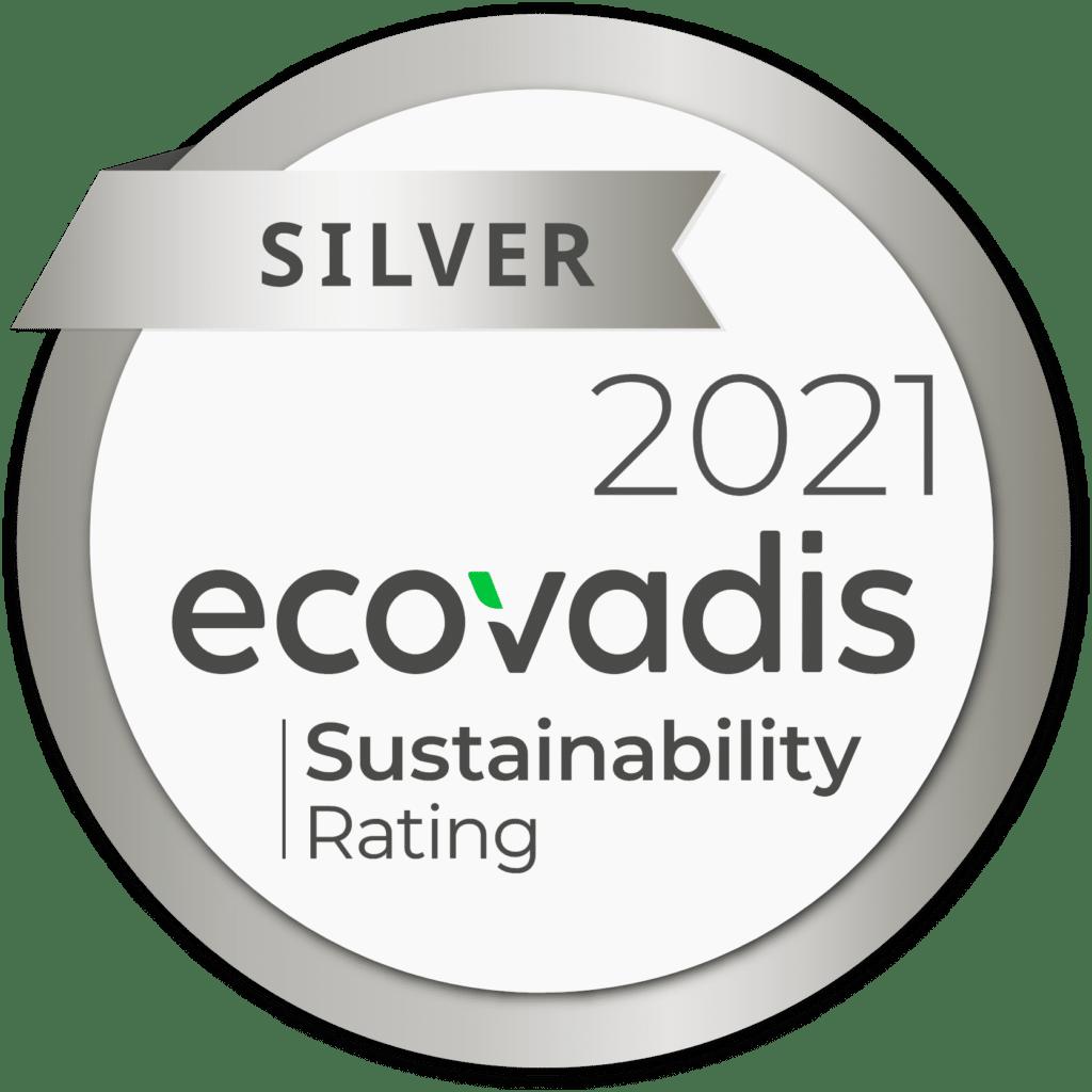 Logo de la médaille ecovadis Silver sur la note de durabilité de Daveo.  Une solution universelle d'évaluation de la responsabilité sociétale des entreprises.